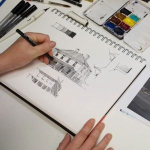 sketching a house