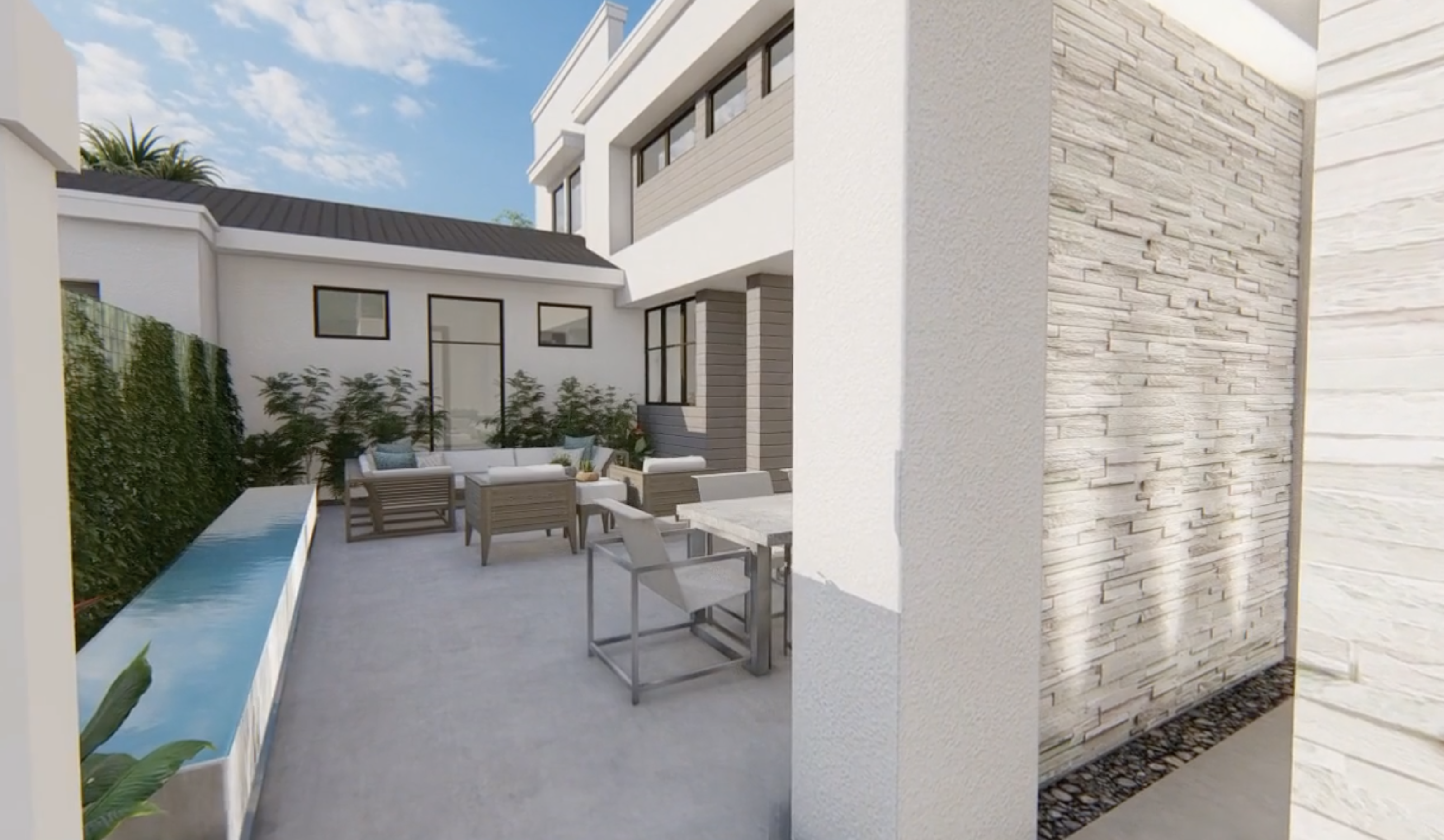 3d architectural visualization of home patio - phil kean design group
